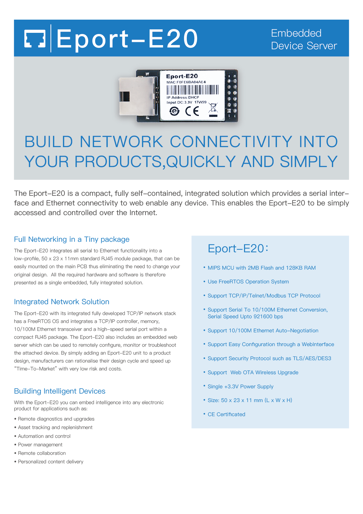 US$ 4 93 - HF Super Ethernet Port FreeRTOS Eport-E20 Cortex