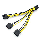 Dual Pin Molex to Dual PCI E Double 6 + 2 Cable Adapter Cord Wire Line 15cm 20cm