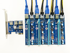 Add in Card PCIe 1 to 4 PCI Express 16X slots Riser Card PCI-E 1X to External 4 PCI-e slot Adapter Port Multiplier Card