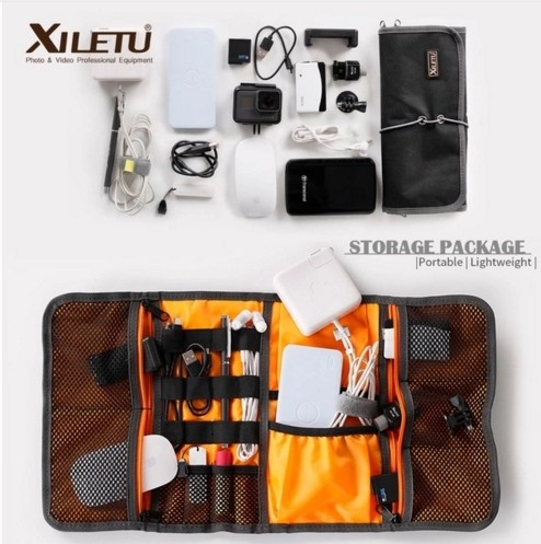 XILETU LP-9 Waterproof Organizador Data Cable Earphone Wire Pen Power Bank Lens Filter Storage Bag Kit For Digital Accessories