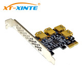 PCI-E 1x to 16x Riser Card PCI-Express 1 to 4 Slot PCIe USB3.0 Adapter Port Multiplier Miner Card for BTC Bitcoin Mining