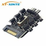 1 to 8 4Pin/SATA Molex Cooler Fan Hub Splitter Cable PWM 3Pin Power Supply Speed Controller Adapter For Miner Computer Cooling