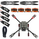 QWinOut DIY RC Quadcopter Full Carbon Fiber Foldable 560mm Frame Kit with Landing Skid 40A ESC 1455 Carbon Fiber Propellers 580KV Motor