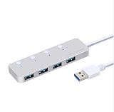 Acasis HS-080 4 Ports USB 3.0 Hub Splitter with Individual Switch External Cable 20cm USB Adapter Slim High Speed for MacBook PC
