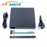 XT-XINTE USB2.0 SATA Hard Disk Drive External Case 12.7MM HDD Enclosure Optical Drives Cases DVD-RW for WindowXP/2003/Vista/Win7/Linux
