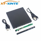 XT-XINTE USB2.0 External SSD Hard Disk Enclosure Case 9.5mm DVD-RW Drive Case Kit for Laptop WindowXP/2003/Vista/Win7/Linux/Mac 10 OS