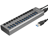 Acasis 13-port USB3.0 Splitter with 12V 6A Power Cord Extension HUB