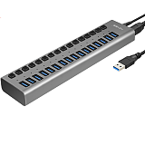 Acasis 16-port USB3.0 Splitter with 12V 6A Power Supply Cord Extension HUB