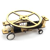 DIY Wooden Electric Slide Helicopter Vehicle Plane Toy Model Building Kits with Motor & Wheel Tires Scientific Education Toys for Children Kids (18*12.5*7cm)