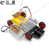 DIY Mini 4WD Remote Control Car Electric Motor Plastic Chassis Educational Material Kits Small Production Boys Gift
