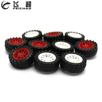 10Pcs Plastic 31*2mm Mini Wheels 31mm Dia Tires 2.0mm Hole Tyre for DIY 2WD / 4WD Vehicle Model Car Robotic Kit Parts Robot Toys
