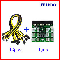 PCI-E 12V 64Pin to 12x 6Pin Power Supply Server Adapter Breakout Board w 12Pcs 6Pin Power Cable for HP 1200W 750W PSU GPU Mining
