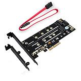 XT-XINTE Dual M.2 NGFF SSD NVME M Key + B Key to PCI Express 3.0 4X Host Controller Expansion Card PCIE M2 SATA Riser Adapter w/ Bracket