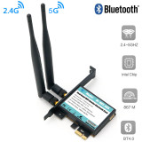 XT-XINTE 802.11 AC A/B/G/N/AC 7265 Module to PCI-E 1X Desktop Wifi Card Adapter Bluetooth 4.0 AC1200 2.4Ghz-300Mbps/5Ghz-867Mbps Bracket