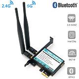 XT-XINTE 802.11 AC A/B/G/N/AC 7265 Module to PCI-E 1X Desktop Wifi Card Adapter Bluetooth 4.0 AC1200 2.4Ghz-300Mbps/5Ghz-867Mbps Bracket