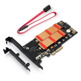 XT-XINTE M.2 NVMe SSD NGFF TO PCI-E X4 3.0 Adapter M Key B KEY Dual Interface Riser Card PCIE3.0 w/ Metal Bracket & Heatsink for Desktop