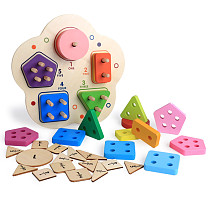 MWZ Color Digital Cognition Toy Wooden Children Early Educational Childhood Shape Pairing Geometry Five Columns Game Puzzle