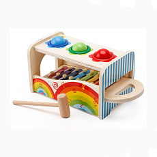 MWZ Baby Wooden Noise Maker Knock Ball Xylophone Kids Hand Hammering Early Learning Educational Toys Music Instrument Block Toy