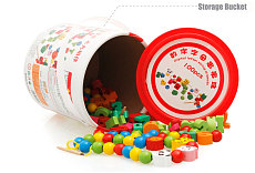 MWZ Educational Wooden Beads Colorful Kids City Traffic Numbers / Letters Beaded Toy for Children Barrel Treading Stringing