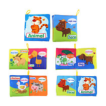 Feichao Cloth Book Newborn Baby Learning Letter Number Shape Animals Fruits Waterproof Kids First Book Infant Gifts Educational Toys