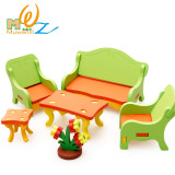 MWZ Enlightenment Kids Baby Learning Educational Wooden Toy Block Assemblage Play 3D House Bed Chair Table Furniture Puzzle