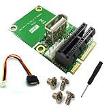 XT-XINTE PCI-E 1X to Half/Full Mini PCI-E Adapter Converter mini PCIe Adapter with 4Pin to SATA Power Cable for WindowsXP/7/8/10