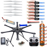 F08618-B HMF S550 F550 Hexacopter 6-Axis Frame Kit with Landing Gear +ESC Motor Welded+QQ SUPER Control Board+RX&TX+Prop