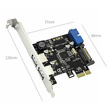 XT-XINTE PCIE to 2 Ports USB3.0 Expansion Card Desktop Front 19/20PIN Header Interface for PCI-E x1/x4/x8/x16 for Windows XP/7/8/8.1/10