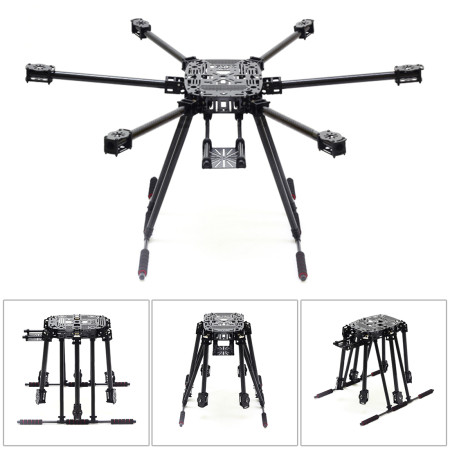 ZD850 Full Carbon Fiber Frame Kit with Unflodable Landing Gear Foldable Arm ZD 850 for DIY FPV Aircraft Hexacopter