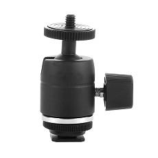 Aluminum Tripod Head Rotatable 360 Degree Camera Ballhead Ball Head Hot Shoe Adapter to 1/4 Screw Mount Flash Light Accessories