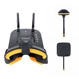 JMT Mini FPV Goggles With Mushroom Antenna Panel Antenna 3 inch 480 x 320 Display Double Antenna 5.8G 40CH Built-in 3.7V 1200mAh Battery for Racing Drone Models