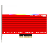 JEYI VolleyStar-PRO Black Heat Sink Heatsink M.2 NVMe SSD NGFF TO PCIE X4 Adapter MKey Port Card PCI-E 3.0 x4 Full Speed RGB LED