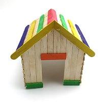 Creative Wooden DIY Crafts Natural & Colorful Ice Cream Wood Sticks Match Stick Children Handmade House Toys Food DIY Materials