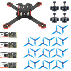 JMT J205 205mm 3mm Arm Carbon Fiber Frame Kit with 35A ESC 2306-2400kv 3-4S Motor Props for DIY RC Quadcopter Mini FPV Drone