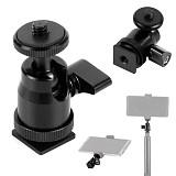 BGNing  Aluminum Alloy 360 Rotating Bracket for Gopro Camera Tripod LED Light Flash Holder Ball Head Hot Shoe Adapter Mount with Lock