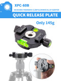 BGNING Aluminum Alloy Gimbal Adapter Clamping Clamp Quick Release Plate Interface Screw 1/4'-3/8' SLR Camera Tripod Photography Mount