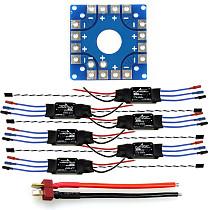 Assembled Kit: 30A ESC + KK ESC Connection Board Connectors Dean T Plug Wire for 6-Aix Drone Hexacopter