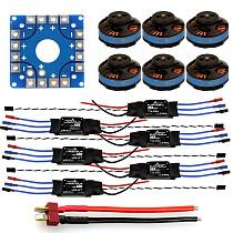 Assembled Kit: 30A ESC + Tarot Motor + KK ESC Connection Board Connectors Dean T Plug Wire for 6-Aix Hexacopter
