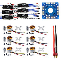 Assembled Kit: 30A ESC + Motor + KK ESC Connection Board Connectors Dean T Plug Wire for 6-Aix Drone Hexacopter