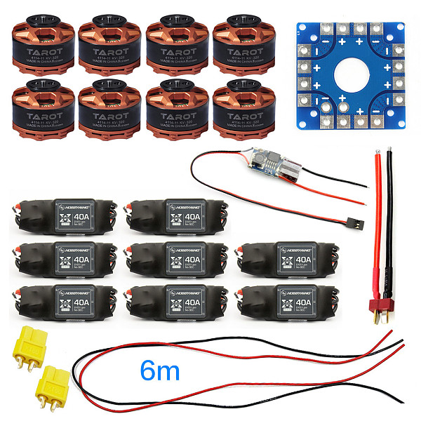 Assembled Kit 40A ESC Controller Tarot 320KV Motor Connection Board Wire for 8-Axis Drone Multi Rotor Hexacopter