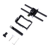 BGNing Professional Aluminium Alloy DSLR Camera Video Cage Kit Stabilizer w Top Handle Grip Rod Rail for Sony A6000 A6300 A6500 A6400
