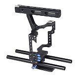 BGNing Aluminum Alloy Camera Cage Video Film Stabilizer Rig + Top Handle Grip + Rod for Sony A7II A7R A7SII A6000 A6500 Panasonic GH4