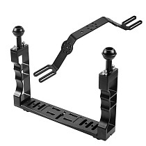 XT-XINTE CNC Aluminum Diving Underwater Waterproof Lighting Arm Bracket System with Handle Grip Stabilizer Rig for Sports Camera Housing Diving Case