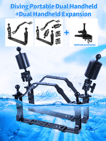 XT-XINTE CNC Aluminum Diving Underwater Waterproof Lighting Arm Bracket with Handle Grip Adjustable Shutter Extension Rod Stabilizer Rig for Sports Camera Housing Diving Case