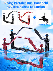 XT-XINTE Diving Handle Tray Bracket with Handle Dual Handheld Stabilizer Portable Balancer Holder for SLR Camera Waterproof Case Underwater Diving Photography