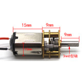 2x N20 Geared Motor 3mm D-shaped 9mm Shaft Large Torque Metal Gear Reduction Motor DC 3V-6V for DIY RC Robot Smart Car Gearmotor