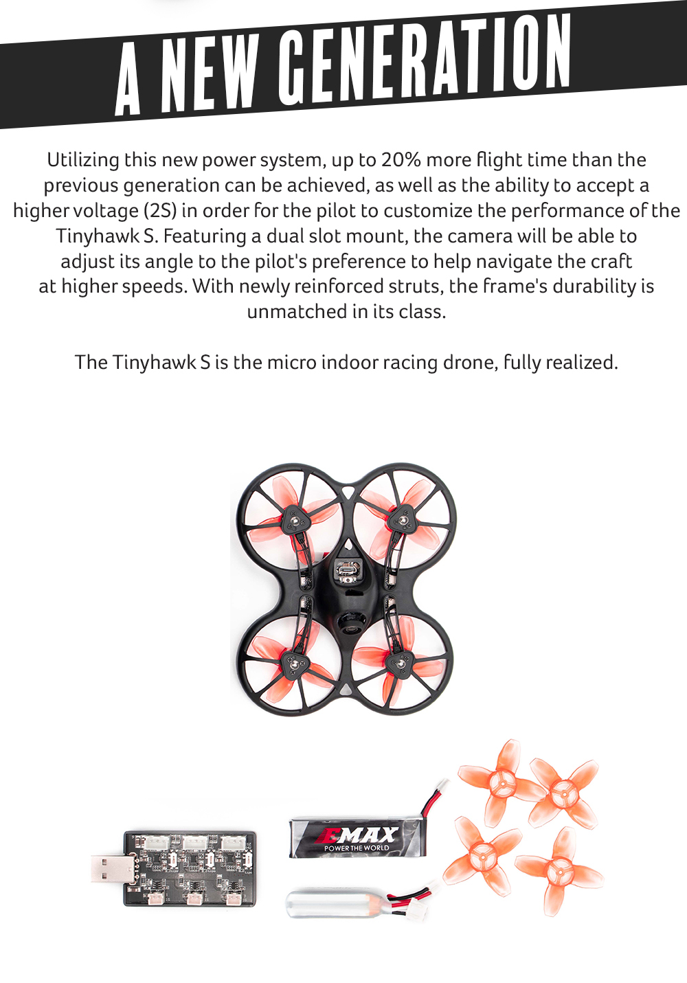 EMAX Tinhawk S 600TVL Indoor FPV Racing Drone F4 4in1
