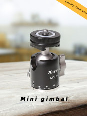 MC-19 Aluminum Mini Ball Head w 1/4'' Screw and Cold Shoe Adapter for Phone Tripod LED Video Light Monitor Swivel on DSLR Camera
