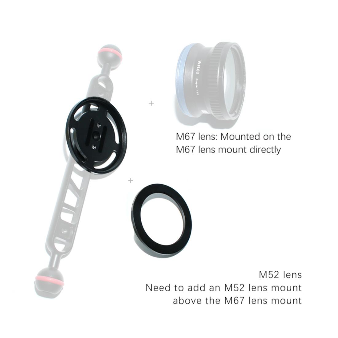 Diving Lens Carrier Buoyancy Arm Extension Lens Base Close-up Lens Fixing Base M67 Single Mount