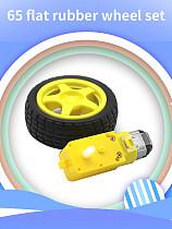 Feichao 2Pcs 65 Flat Rubber Wheel Sets (Including Motor) DIY Technology Production Model Robot